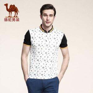 骆驼男装 夏款印花短袖T恤 男士圆领商务休闲t恤 男式拼接体恤男