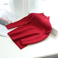 女童毛衣2017新款秋装 儿童韩版套头针织打底衫保暖宝宝上衣装 红色 5(建议身高90 厘米)