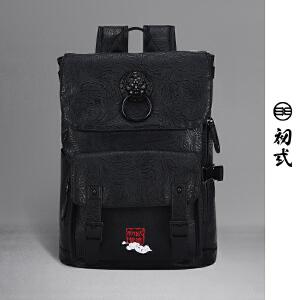 【支持礼品卡支付】初�q中国风狮子头刺绣复古时尚男女电脑双肩背包学生书包41131