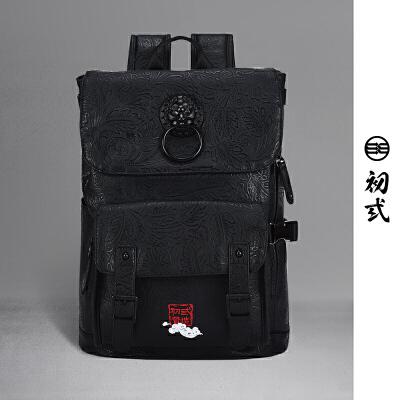 【支持礼品卡支付】初弎中国风狮子头刺绣复古时尚男女电脑双肩背包学生书包41131