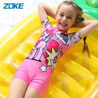 洲克儿童泳衣小马宝莉卡通版女童连体泳衣温泉速干女孩泳衣CS印