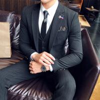 西服套装男士修身三件套职业商务正装西装伴郎服装新郎结婚礼服秋男士英伦绅士西装三件套韩版西服套装