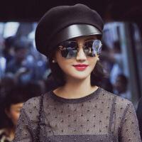 帽子女冬鸭舌帽定制D羊毛呢拼皮景甜同款网红帽子女休闲百搭 黑色 可调节