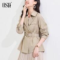 OSA春装2021年新款高端风衣外套女中长款小个子收腰流行气质大衣