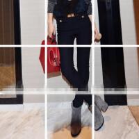 欧洲站秋冬季新款裤子韩版百搭口袋高腰休闲修身显瘦打底小脚裤女