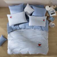 LOVO家纺 全棉纯棉针织床笠四件套 闲暇时光哆啦A梦精梳床单被套枕套