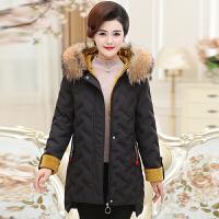 妈妈装冬装洋气外套中老年女装棉衣女秋冬女式小棉袄中长款冬