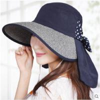 女防晒可折叠遮阳帽夏天户外防紫外线大沿沙滩帽太阳帽凉帽