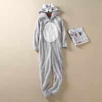 冬季连帽可爱小兔连体衣情侣家居服女加厚法兰绒套装学生睡衣