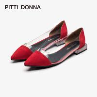 PITTI DONNA春新品尖头拼接低跟女单鞋 AM19620