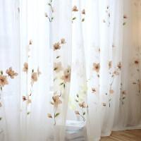 君别韩式手绘窗纱布料田园窗帘成品阳台纱客厅卧室飘窗纱帘 每米价格(加工)