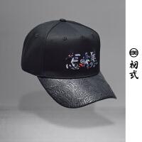 初弎中国风刺绣潮流圆顶休闲怎样帽子男女个性时尚鸭舌帽