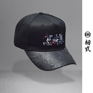 初�q中国风刺绣潮流圆顶休闲怎样帽子男女个性时尚鸭舌帽