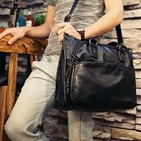 男士真皮手提包横款公文包单肩斜挎商务休闲手拎包公务电脑文件包 黑色 S-1215