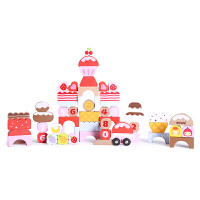 【当当自营】木玩世家儿童益智甜心积木女孩大块积木1-3岁婴儿童木制玩具礼盒B3126
