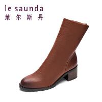 【全场3折】莱尔斯丹 秋冬季新款圆头中跟粗跟短筒靴女靴9T49201