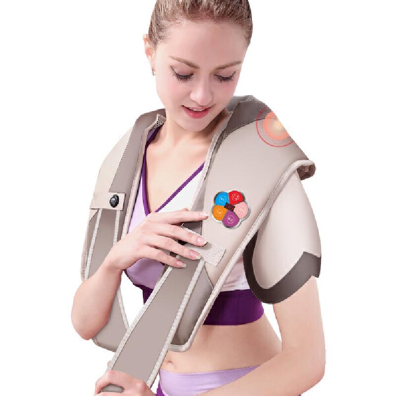 凯仕乐(Kasrrow)智能按摩披肩 颈部腰部肩部按摩器 捶打颈肩乐 卡其色 KSR-13多功能版 多种按摩模式和力度 舒适按摩