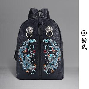 【支持礼品卡支付】初�q中国风潮牌复古书包双青龙戏珠刺绣狮子头双肩背包男女41112