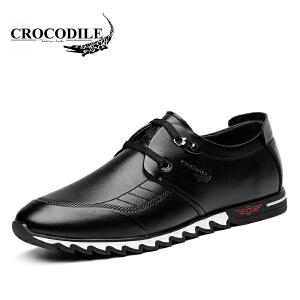 鳄鱼恤休闲鞋潮流商务休闲皮鞋系带低帮鞋舒适男鞋