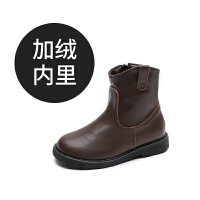 女童靴子2018秋冬新款儿童马丁靴英伦风公主单靴加绒黑短靴真皮