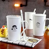 包邮 卡通动漫人物创意陶瓷杯 白色哑光咖啡杯水杯 带盖带勺马克杯