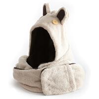 围巾女冬天时尚韩版秋冬季围脖可爱兔耳双层厚珊瑚绒帽子围巾手套一体