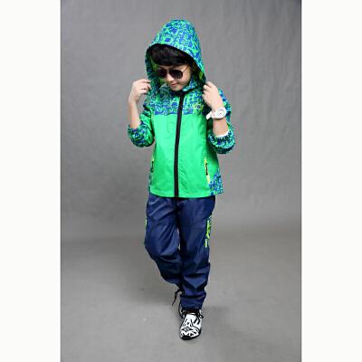 男童冲锋衣套装运动服两件套中大儿童男童防风外套小孩外出服校服 发货周期:一般在付款后2-90天左右发货,具体发货时间请以与客服协商的时间为准