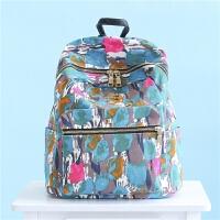 双肩包女韩版印花学院风高中学生书包百搭旅行英伦个性简约小背包