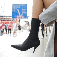 弹力丝袜靴袜子瘦瘦靴短靴高跟中筒靴子女细跟春秋2018新款及踝靴 黑色 单里