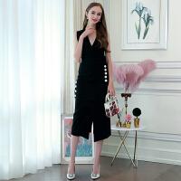 MIUCO欧洲站女装2018春新款通勤V领重工纽扣修身开叉无袖连衣裙子