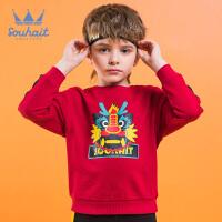 【3折价:74.7元】souhait水孩儿童装春季新款男童卫衣时尚印花套头卫衣儿童卫衣