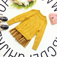 女童针织毛衣2017季韩版小女孩童装中长款百褶下摆打底毛衣裙