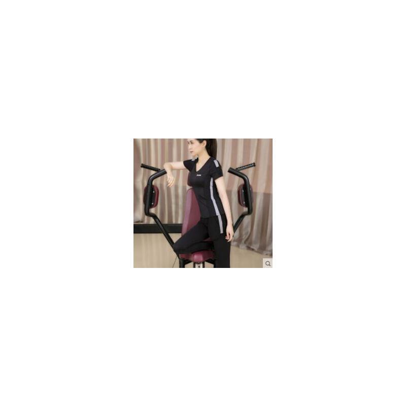 时尚健身房运动套装女透气速干三件套瑜伽服春夏上装t恤修身跑步长裤 品质保证 售后无忧