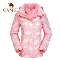 camel骆驼户外情侣款迷彩冲锋衣男女三合一两件套登山服潮