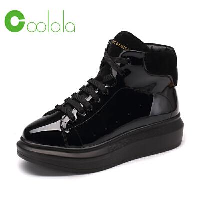 红蜻蜓coolala韩版运动女士单鞋平底镜面街头潮流系带女鞋