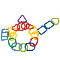 几何扣环 儿童塑料拼插拼装桌面积木玩具3岁以上96粒小桶装