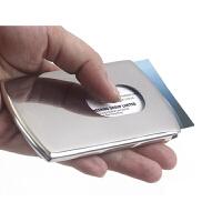 创意名片盒男式时尚商务名片夹 男士不锈钢金属手推名片夹 可定制