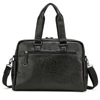 男包单肩包新款欧美时尚大容量包潮旅行包出差、手提包 黑色