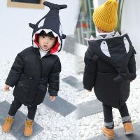 男童装套装1儿童三件套2运动3宝宝4加厚5棉衣6岁小男羽绒袄 黑色 加厚鲨鱼棉衣外套 90cm(90码建议身高75-8