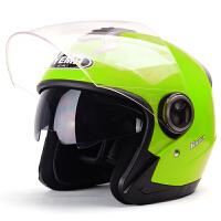 野马623四季摩托车头盔 冬季半覆式电动车安全帽 男女通用双镜片半盔