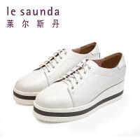 莱尔斯丹 秋冬新款厚底松糕底小白鞋圆头系带单鞋 9T23609