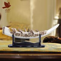 象牙摆件客厅家居装饰品创意中式玄关办公室招财摆设开业礼品礼物