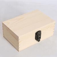 复古长方形大中号小号带锁储物箱木质箱子实木盒子木头小型收纳盒 乳白色 小号原色无图