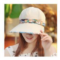 女款蕾丝可折叠防晒凉帽 鸭舌帽夏遮阳帽 防晒帽子空顶防紫外线太阳帽