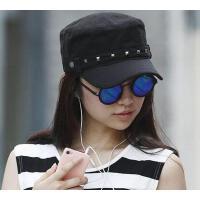 户外女帽遮阳运动铆钉鸭舌帽子夏天女士休闲平顶军帽 韩版潮