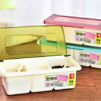 厨房翻盖塑料调味盒罐调味瓶调料盒盐罐套装配勺时尚厨房用品 绿色
