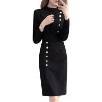 连衣裙女秋冬2018新款修身显瘦OL职业包臀裙子黑色冬季打底裙加绒 黑色