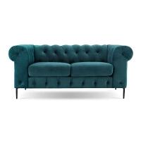 欧式客厅三人沙发轻奢孔雀蓝布艺别墅网红拉扣沙发美式后现代古典