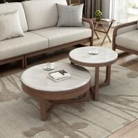 北欧圆形大理石茶几 实木简约时尚个性创意小户型客厅茶桌 整装