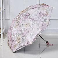 太阳伞蕾丝 遮阳伞太阳伞雨伞双层蕾丝伞晴雨两用伞防晒伞防伞折叠伞A 魁姿款粉色